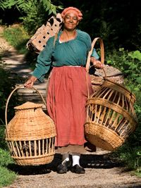 """Chicken in a basket: Janice Canaday carries Dominique chickens home to roost."" This picture just makes me happy. The article is about the different kinds of chickens."