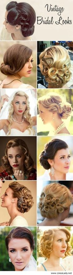 Vintage Wedding Ideas - What is more important than the bride's look to set the theme? Vintage Weddings. Vintage Wedding Dress. Vintage Bride.