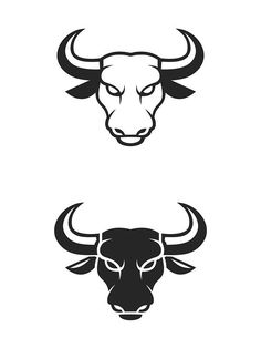 Bull Face Logo. Business Icon Set. Icons Bull Tattoos, Taurus Tattoos, Mascot Design, Logo Design, Flat Design, Design Design, Toro Logo, Taurus Logo, Bull Images
