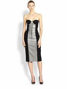 Michael Kors Strapless Quilted & Lamé Panel Dress