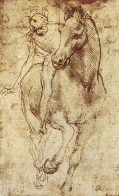 Leonardo da Vinci manages to capture the magnificent motion of a renaissance horse and rider in this stunning sketch. Add vigor to your decor with this adventurous print created by the most famous ren Renaissance Kunst, Equine Art, Horse Art, Painting & Drawing, Art History, Art Drawings, Illustration Art, Art Illustrations, Horses