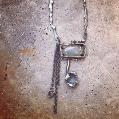 wild / crafted / metal : rustic, eclectic, contemporary artisan jewelry by studio luna verde / embracing the art of imperfection / aquamarine necklace Rustic Jewelry, Silver Jewelry, Urban Jewelry, Arrow Necklace, Pendant Necklace, Aquamarine Necklace, Mixed Metal Jewelry, Wabi Sabi, Artisan Jewelry