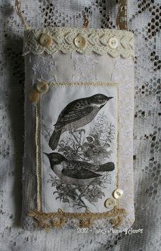 Summer Wrens #handmade #Vintage Lace Fabric by sugarlumpstudios, $18.95