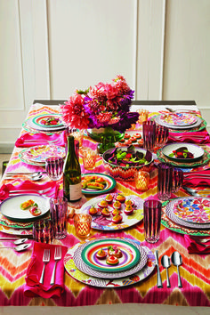 Husband and wife team, Tai and Rosita Missoni, created the chevron stripe in We're thrilled to now carry this iconic Italian name in our Home collections. Brighten up your dinner party with their vibrant linens now. Kids Party Themes, Party Ideas, Devine Design, Picnic Time, Diy Party, Holidays And Events, Event Decor, Textiles, Tablescapes