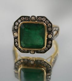Art deco 18K yellow gold,Diamond cluster natural 4 Carat Emerald ring, Certificate USA size 6 Engagement,christmas,dress ring