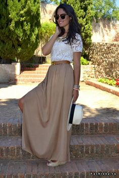 Nautical striped top with chiffon maxi skirt | Fashion | Pinterest ...
