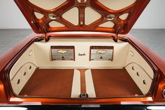 For Sale 1961 Chevrolet Impala Car Interior Upholstery, Automotive Upholstery, Custom Car Audio, Custom Cars, Super Chevy Magazine, Custom Car Interior, Muscle Cars For Sale, Subwoofer Box, Car Trunk