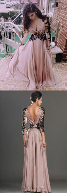 A-line V-neck Prom Dresses,Chiffon Long Formal Evening Gowns, Appliques Lace Girls Party Dresses,Long Sleeve Women Dresses