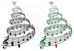 Music tree, Christmas tree with music notes, Xmas card, digital clip art, clipart, printable illustration, vector, instant download