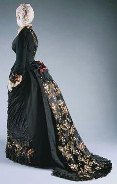 Black silk brocade 1880s bustle