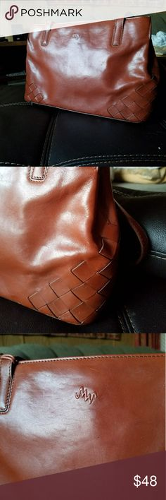 Genuine Monsac leather purse Cognac leather still stiff from the factory. Bag measures 12.5 inches long, 8 inches tall. Monsac Bags Shoulder Bags