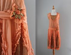 1920s Dress / 20s Pink Silk and Gold Lace Party Dress / 1920s Debutante Dress. $598.00, via Etsy.