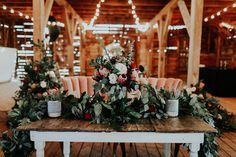 Beyond the Bouquet: Greenery Swag | Forever Cole Events | Barn at the Woods | Chelsea Denise Photography | Ruby's Vintage Rentals #bridesofok #wedding #tabletop
