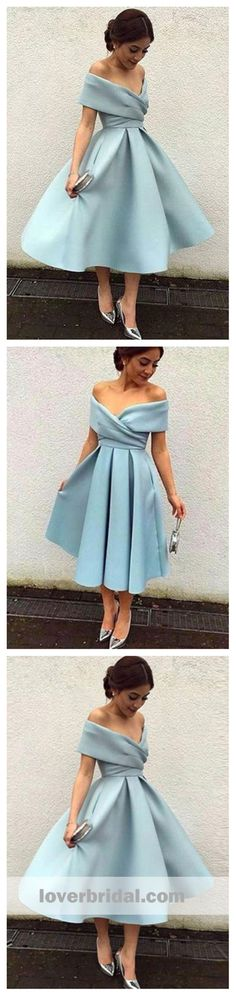 Off Shoulder Dusty Blue Short Cheap Homecoming Dresses 2018, CM543 #homecomingdresses