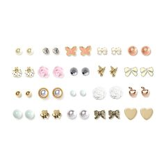 Mixed Metal Mystical Motif Stud Earrings Set of 20