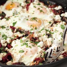 Mediterranean Eggs - A healthy, flavorful breakfast for dinner made with caramelized onions, sun dried tomatoes, and feta cheese! Healthy Egg Breakfast, Vegetarian Breakfast, Breakfast For Dinner, Egg Recipes For Breakfast, Super Healthy Recipes, Healthy Foods To Eat, Healthy Snacks, Vegetarian Recipes, Mediterranean Breakfast