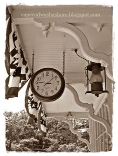 clock and lantern at the Brewster General Store, Cape Cod