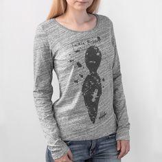 Women's sweatshirt printed on organic slub cotton in heather grey color.Shop the coolest Women's Sweatshirts.Unique prints, authentic graphic style #tshirtdesign #graphictees  #longsleeve #tee #tshirt #womanswear #casua