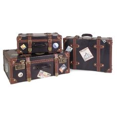 Features:  -Set includes one small, medium and large suitcase.  -Combination of Brown and Black.  -Multi functional.  -Decorative suitcases.  -With brass latches.  -Custom world travel label vinyls.