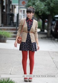 i adore everything about this outfit. especially the yarn bow tie and the red tights. Mode Outfits, Winter Outfits, Girly Outfits, Mode Style, Style Me, Look Fashion, Womens Fashion, Fashion Shoes, Girl Fashion