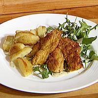 Sprøstekte torsketunger med ovnsbakte poteter -