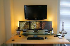Home office with multiple monitor displays