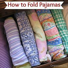 DIY:: How to Fold and File Pajamas ! And many other Folding Tricks ! Are your drawers (and linen/ bathroom closets) always a mess? Do you have to tumble through the drawer to find anything? How To Easily Make Space & Organize  All Your Families' Laundry With these easy folding tricks ! .