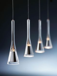 """""""Note"""" Pendant - Holtkotter: Streamlined with reflector encased in glass. -reminds me of a number of open-ended glass pieces that I've salvaged over the years. Cool Lighting, Modern Lighting, Lighting Design, Pendant Lighting, Pendant Lamps, Pendants, Deco Luminaire, Luminaire Design, Lamp Design"""