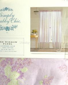 2 Simply Shabby Chic Voile Lilac Floral Sheer Lavender Curtains Drape Panel Chic