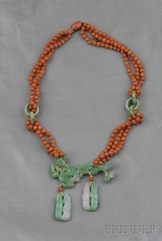 Jadeite and Coral Bead Necklace