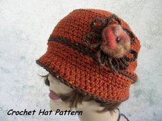 Crochet Hat Pattern Brimmed Womens Cloche With Flower Trim  Easy To Make Resell finished