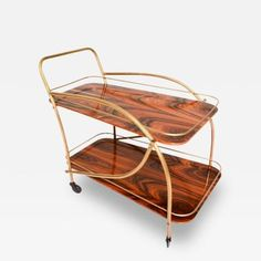 Vintage 1950s Brazilian Rosewood Double Deck Bar Cart, Attributed to Arturo Pani, offered by Ambianic