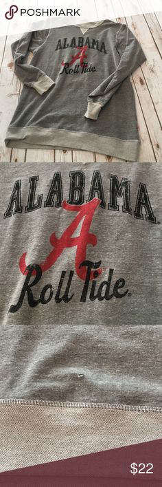 "Alabama Roll Tide 🌊 vintage look sweatshirt XL Love this sweatshirt - great vintage look! 50% polyester, 37% cotton, 13% rayon. Made in 🇺🇸 USA - this sweatshirt does not get wider at the bottom but is a longer straight fit. 30"" from shoulder to hem, armpit to armpit just about 22.5""across, down the shirt side to side is about 21.5 - 22"". Perfect for tall skinny figure. Never really worn but picked up a small hole on front along the way. In some ways it adds to the vintage appeal! Venley…"