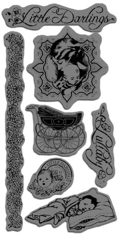 Graphic 45 Sneak Peeks: Little Darlings Cling Stamps - Love the baby carriage!