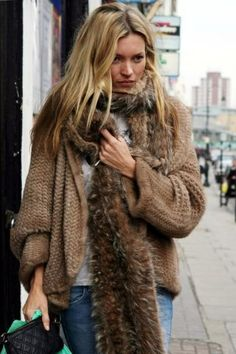 Now What Do I Wear With My Fur Collar? - Becca Juskovic (Post on How to Style Your Fur Collar) Kate Moss