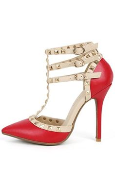 4575efe9d9d5 Pointy Studded Pumps RED Studded Pumps, Womens Flats, T Strap, Pumps Heels,