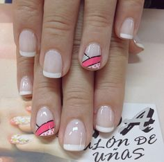 Uñas frances blanco y rosa Gel Nail Art, Manicure And Pedicure, Love Nails, Fun Nails, Magic Nails, Finger, Toe Nail Designs, Nail Decorations, Simple Nails
