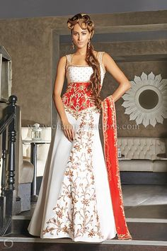 Wedding Reception Dresses - White and red panetar gharchola gown with a long red train