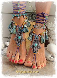 Purple HAMSA hand BAREFOOT sandals TASSEL Dance foot jewelry Toe Ankle wrap sandal Summer Fun Ethnic Wedding Hippie Boho bare feet GPyoga