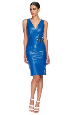 Shop Cobalt Blue Leather Dress by Versace for Preorder on Moda Operandi