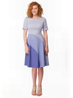 Colorblock Cotton Poplin Dress Mare Grigio 1-304, for a big bust