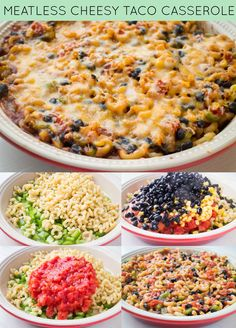 Meatless Cheesy Taco Casserole Recipe, a comfort Mexican meal that your entire family will love!