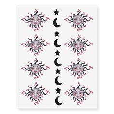 Gothic Black Pink Sun Goddess Face Moon Stars Temporary Tattoos