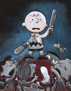 I think hes supposed to be part Rick(the gun) and part Merle(the chainsaw hand) lol...i love the walking dead:D