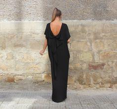 Backless parti maxi élégante robe de soirée/Backless robe avec Big Ribbon au verso noire /