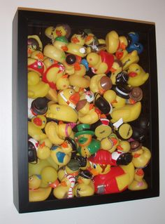 Shadow box filled with rubber duckies! I have a rubby ducky themed bathroom my collection of rubber duckies looks more updated and put together in this rather then all over the place!  I got the idea from a mom doing this with her son's matchbox cars. Love it!