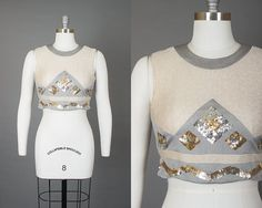 Vintage 60s Metallic Sequin Crop Top | 1960s Silver Sparkly Geometric Space Age Sleeveless Blouse (small) | Birthday Life Vintage on Etsy