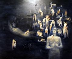 Dream scape with many figures caught in situations reminicient of tales of erotica. Flesh coloured and translucent bodies hover on a night sky blue foundation. Maker Ms Pick, Seraphine 1998 Made New Zealand Oil on Canvas Blue Foundation, Monochromatic Color Scheme, Colour Schemes, Space Junk, Nz Art, Artist Painting, Art Boards, Erotica, Art Inspo