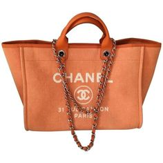 CHANEL DEAUVILLE TOTE ORANGE CHANEL (10.835 BRL) ❤ liked on Polyvore featuring bags, handbags, tote bags, tote purses, red purse, chanel purse, red tote bag and chanel handbags - Sale! Up to 75% OFF! Shop at Stylizio for women's and men's designer handbags, luxury sunglasses, watches, jewelry, purses, wallets, clothes, underwear