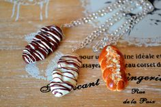 Miniature food brioche pendant in 3 flavors Miniature Food, White Chocolate, Nutella, Polymer Clay, Cable, Greek, Miniatures, Lovers, Necklaces